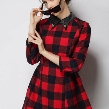 Plaid Pointed Flat Collar Half Sleeve A-Line Mini Dress