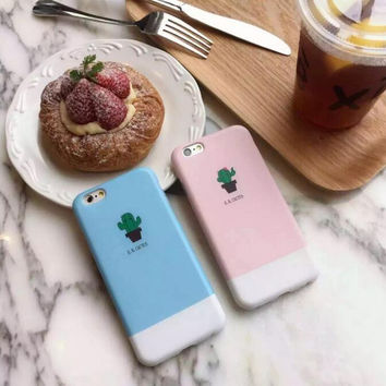 Cute girl candy colored small cactus pot phone case for iPhone 6 6S 6plus 6Splus 1008J01