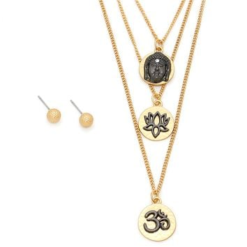 Triple Layer Buddha Lotus Om Pendant Necklace