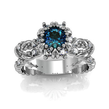 Art Deco Ring -  Antique Style Sterling Silver London Blue Topaz Engagement and Anniversary Ring Set