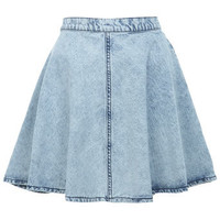 Acid Wash Skater Skirt - Jeans & Denim  - Apparel