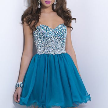 Chiffon Cocktail Dresses 2016 Teal Sweetheart Strapless Sleeveless Iridescent  Mini A Line Modern Homecoming Dress 9862