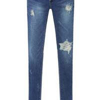 Blue Bleached Ripped Skinny Denim Pants