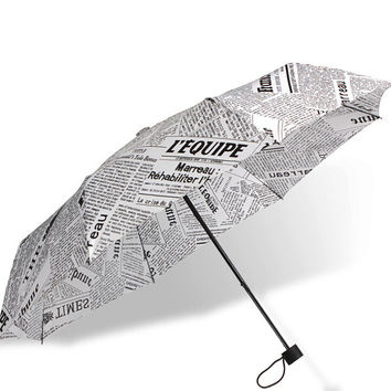 Newspaper Compact Auto Folding Umbrella