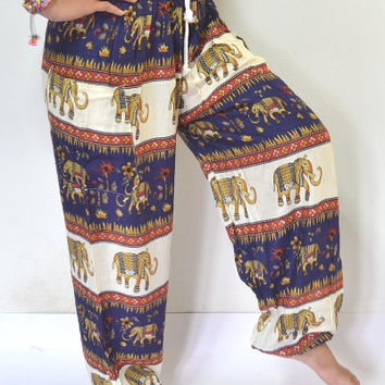Long Elephant Yoga Pants Navy Blue and cream color/Harem Pants/Elephant Print design/Drawstring elastic waist/Meditation pant/Maternity pant