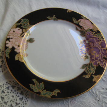 Vintage Fitz and Floyd Cloisonne Peony Black Bread and Butter Plate Dinnerware Table Setting Piece 3 Available