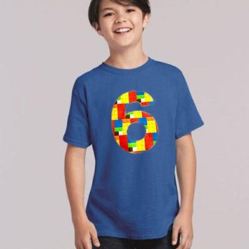 6 Building brick shirt, six construction blocks birthday outfit, 1 2 3 4 5 Birthday Shirt, 6th primary color blue red yellow plastic toys