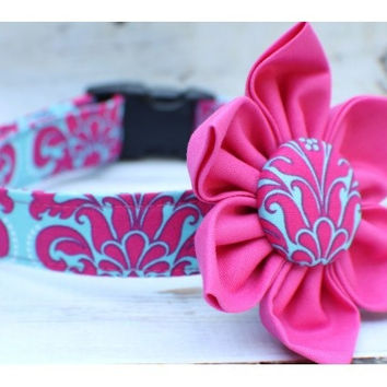 The Dandy Damask flower Dog Collar