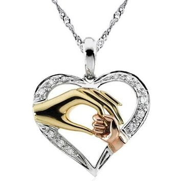2019 Mom Necklace Baby Heart Pendant Mother Daughter Son Child F