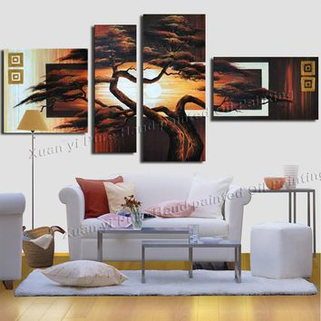Hand-painted Wall Art  trees Oil painting Sunrise African Home Decoration Abstract Landscape Oil painting On Canvas