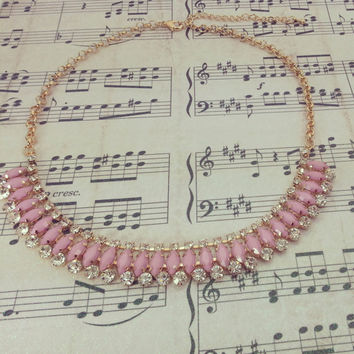Pink- Statement Necklace- J Crew Inspired- Bib Necklace - Choker - Mother's Day Gift - Gift- Bridal Jewelry