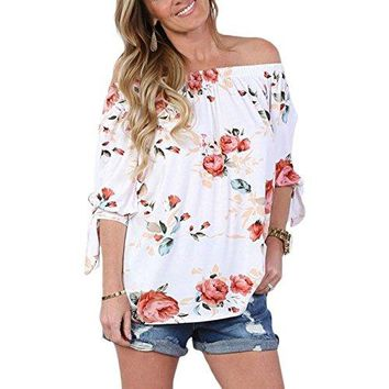 IDEAOLE Women Casual Blouse Tops Floral Print Babydoll