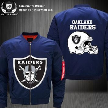 Dropshipping USA Size Men MA-1 Jacket Football Team Oakland Raiders Flight Jacket Costume Design Printed Bomber Jacket made