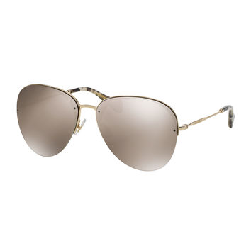 Oversized Metal Aviator Sunglasses, Golden - Miu Miu