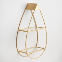 Gold and Glass Teardrop Wall Shelf