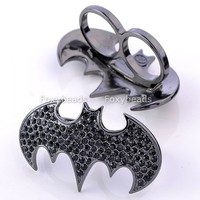 1PC Black Crystal Bat Double Finger Ring Cool Batman Punk Death Gothic Jewelry