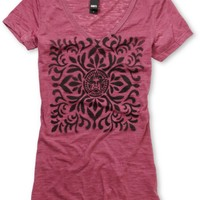 Obey Girls Ornate Stencil Rust Burnout V-Neck Tee Shirt at Zumiez : PDP