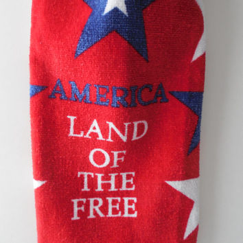 4th of July - Kitchen Towel - Land of the Free - Crochet Top - Ready to Ship