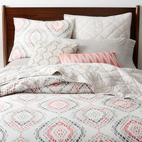 Organic Mosaic Medallion Duvet Cover, Full/Queen, Vintage Rose
