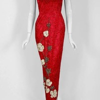 1950's Seductive Ruby-Red Beaded Satin Floral Applique Shelf-Bust Couture Gown