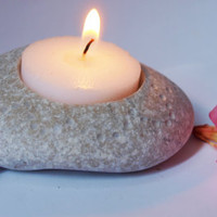 feng shui home decor - hand engraved beach stone candle holder - lightly decorated
