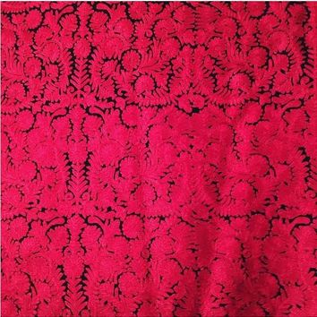 Hand Embroidered Rich Royal Red Luxiourious Kashmir Shawl/ Evening Piano shawl/Dupatta Scarf/India Floral Wool Woolen scarf