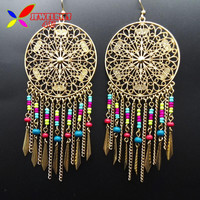 Women's Drop Bohemian Beaded Fringes Tassel Earrings For Women Vintage Hollow Flower Big Long Statement Earrings Brincos Grandes