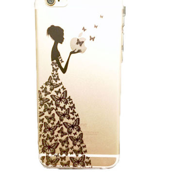 """iPhone 6 and 6S """"Beauty and Butterflies"""" Hard Shell"""