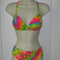 60's FLOWER POWER Psychedelic Bikini / Vtg Surf SWIMSUIT Bathing Suit Beatnik 70's Size s/m Trippy Festival Rave Beach Summer Vacation Pinup