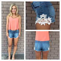 Love & Lace Crochet Shorts- DARK WASH