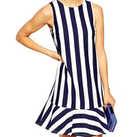 Backless Blue And White Striped Sleeveless Mini Dress