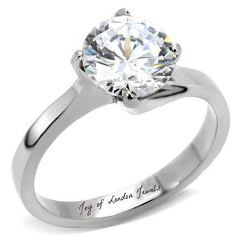 A Perfect 2.5CT Round Diamond Cut Solitaire Russian Lab Diamond Ring