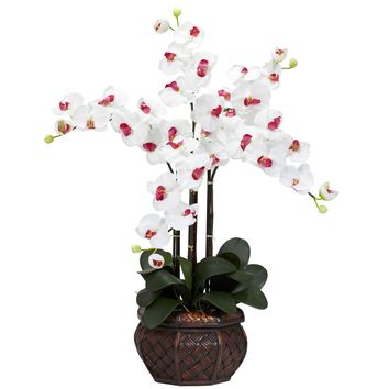 Artificial Flowers -White Phalaenopsis With Decorative Vase Flower Arrangement