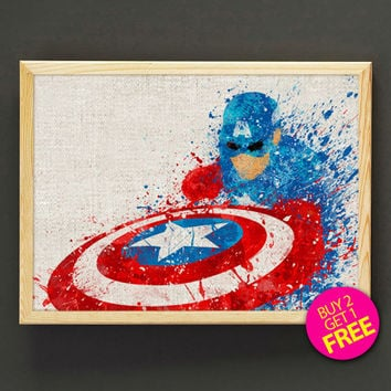 Avengers Captain America Watercolor Art Print Marvel Superhero Poster House Wear Wall Decor Gift Linen Print - Buy 2 Get 1 FREE- 80s2g