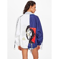 Multicolor Stand Collar Colorblock Bomber Jacket