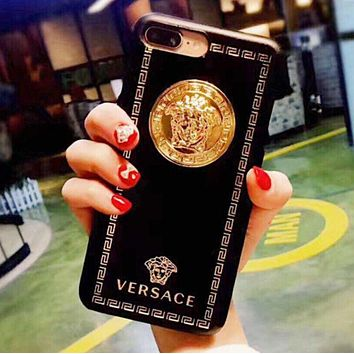 Versace Trending Stylish Hard Mobile Phone Cover Case For iphone 6 6s 6plus 6s-plus 7 7plus iPhone8 iPhone X(5-Color) Black I/A