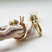 Gift for couple Snail ring set of 2 Best friends gift Bronze snail rings Bronze woodland jewelry Family jewelry Best friend jewelry
