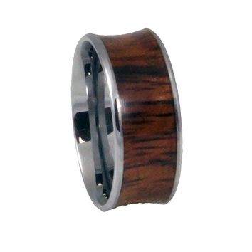 Custom rings Tungsten Wood inlay Ring-Concave 8mm