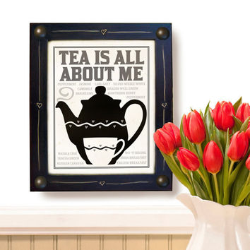 Kitchen Wall Art Print Tea Pot Black and White Home by DexMex