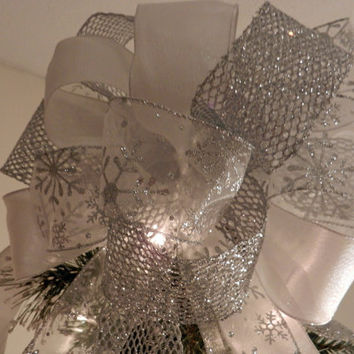Large Silver Mesh Glitter, White Shimmer and Sheer Snowflake Ribbon  Christmas Tree Topper Bow
