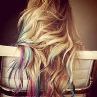 Ombre Dip Dyed Hair Extensions, Pastel Colors,