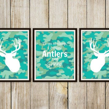 To go to Sleep I Count Antlers not Sheep Print - Children's Room Decor // HomeDecor // Nursery // Deer Hunting Art - 8x10 Print