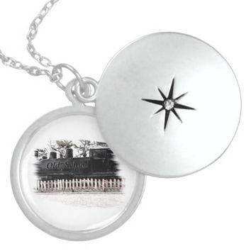 old school train round locket necklace