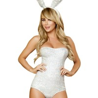 Silver Sequin Playboy Bunny Romper Costume