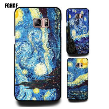 with famous artists paintings Starry Night - Van Gogh phone hard  case Cover for Samsung galaxy A3 5 7 note 345 s3 s4 s5 s6 s7