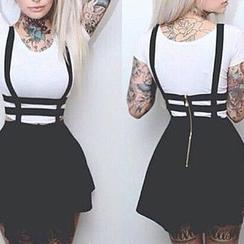 Black Plain High Waisted Zipper Skater Straps Casual Caged Suspender Skirt