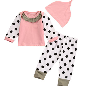 Pink Newborn Baby Boy Girl Outfits Tops Dot Pants Legging Hat Clothes 3PCS Set