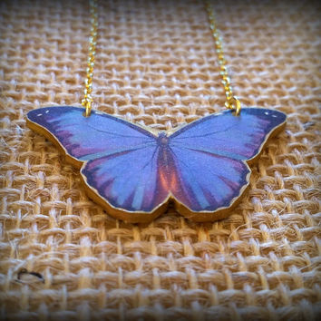 Butterfly Necklace - Blue Butterfly Necklace - Butterfly Charm Necklace - Mariposa Necklace - Papillon necklace - Printed Plastic - Nature