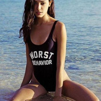 ESBONX5H 'Worst Behavior'' Fashion Summer Sexy Slim Bodycon Swimsuit Bathing Suit Bikini Beach wear Sunshine