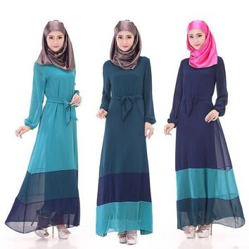 MDIG9GW 2016 new arrival robe musulmane Saudi Arabia long clothes women maxi chiffon bandage muslim dress islamic jilbabs and abayas